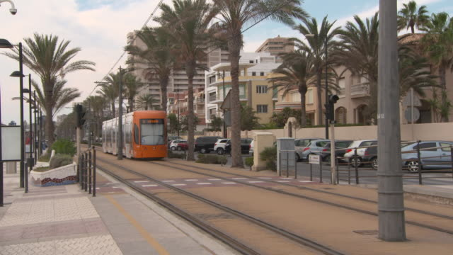 vídeos de stock e filmes b-roll de tram moving along palm trees by street and buildings in city - alicante, spain - alicante