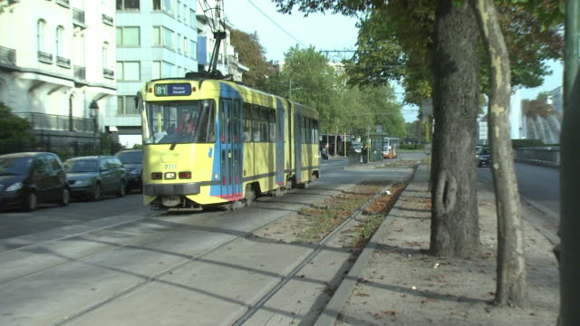 tram on belgium street, brussels, belgium - tram stock videos & royalty-free footage