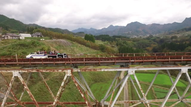 aerial, tram on takachiho bridge, miyazaki, japan - ripido video stock e b–roll