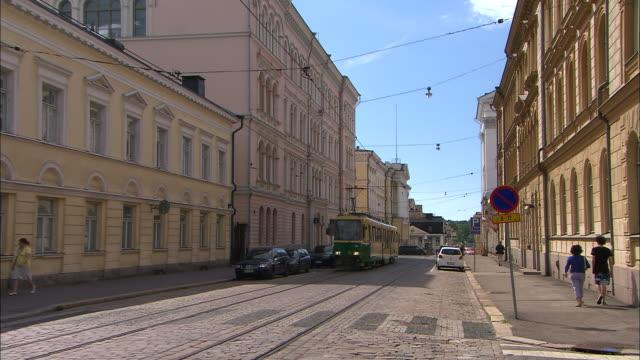 Tram on the Road, Helsinki, Finland