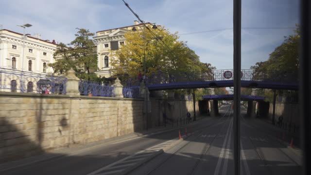 vidéos et rushes de tram public transportation at krakow - ligne de tramway