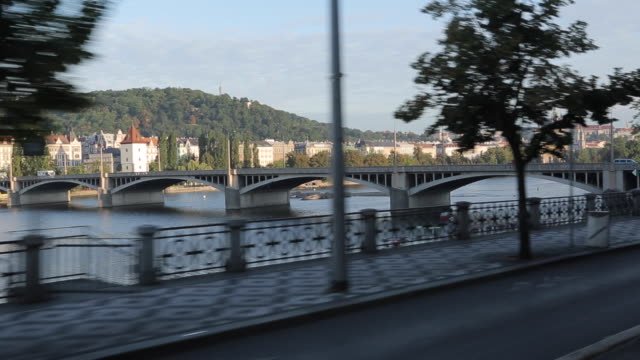 Tram Ride on Banks of the Vltava, Prague, Czech Republic, Europe