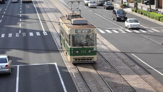 MS Tram running on road in Hiroshima / Hiroshima, Japan