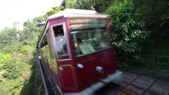tram to the peak of hongkong - 4k - victoria peak stock videos & royalty-free footage