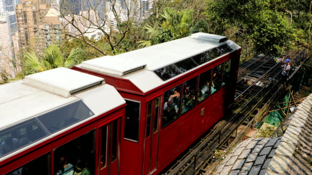 tram to the victoria peak,hong kong,china - victoria peak stock videos & royalty-free footage