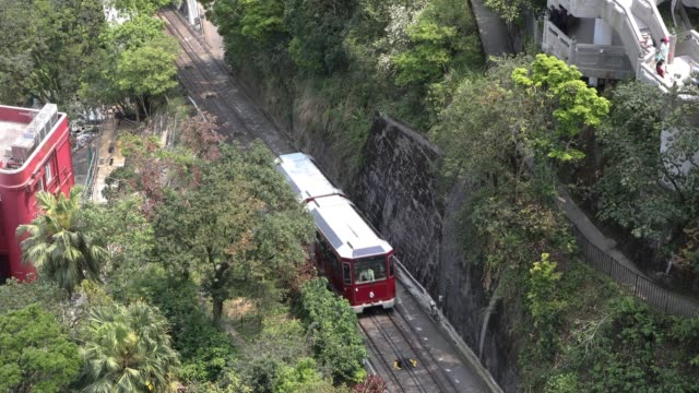 vidéos et rushes de tram to the victoria peak,hong kong,china - tramway