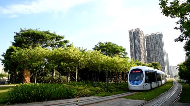Tram traffic in Zhuhai, China