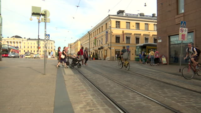 stockvideo's en b-roll-footage met trams in helsinki finland on july 13 2018 - business or economy or employment and labor or financial market or finance or agriculture