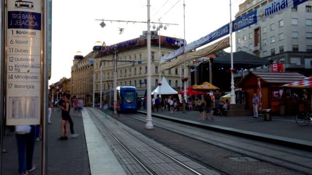 trams in zagreb - public transport stock videos & royalty-free footage