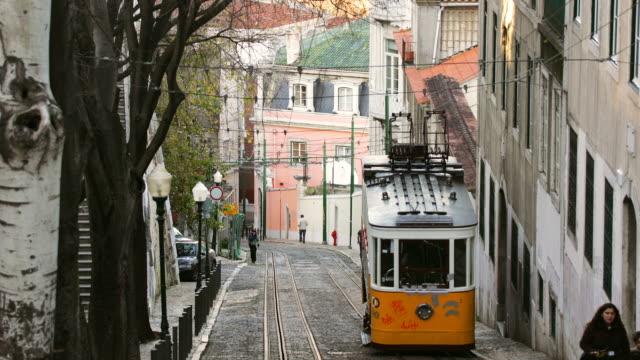 t/l, ms, trams on elevador da gloria, lisbon, portugal - ポルトガル点の映像素材/bロール