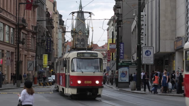 trams on jindrisska and jindrisska tower, prague, czech republic, europe - prague stock videos & royalty-free footage