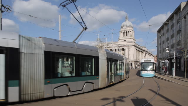 Trams on Old Market Square & Council House, Nottingham, England, UK, Europe