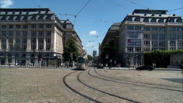 WS, Trams on street, Brussels, Belgium