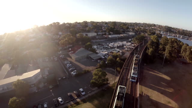 Trams / streetcars over glebe Jubilee Park Aerial shot