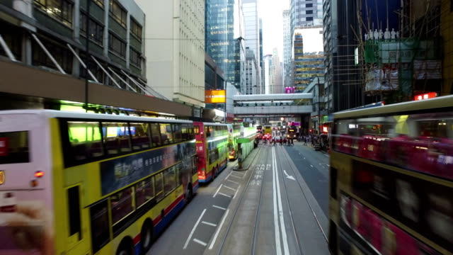 Tramway in Hong Kong Central business district at night