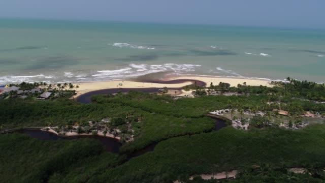 trancoso beach aerial view - bahia state stock videos & royalty-free footage