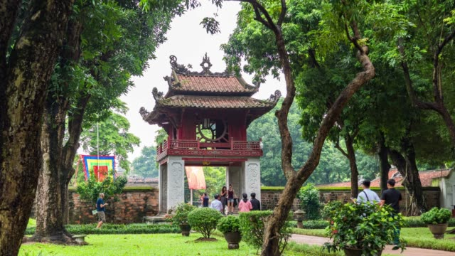 tranquil scene of ancient temple, temple of literature, hanoi, vietnam, time lapse video - literature stock videos & royalty-free footage