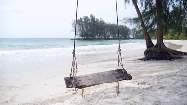 Tranquil Scene of Empty Swing on the Beach