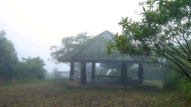 Tranquil Scene of Pavilion on Mountain with Cold Temperature and Fog