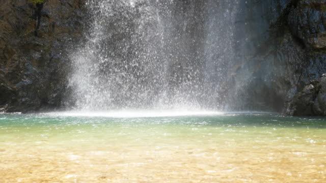 lugn scen av vattenfall stream - naturligt landmärke bildbanksvideor och videomaterial från bakom kulisserna