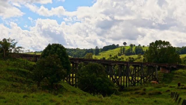 tranquil scene over farmland with a wooden railway bridge - wood material stock videos & royalty-free footage