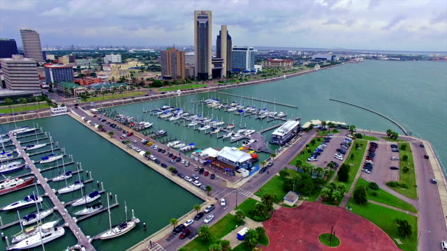 Tranquil Tropical Cityscape on the Gulf of Mexico Flying Over the Corpus Christi Texas Marina