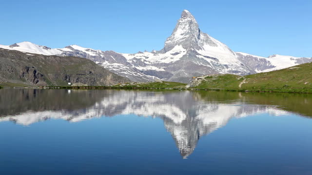 Tranquil view over the stellisee zermatt to the Matterhorn