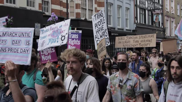 trans+ pride march takes place on june 26, in london, england. - pride stock videos & royalty-free footage
