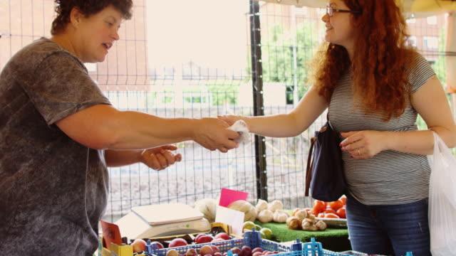 transaktion am bauernmarkt - bauernmarkt stock-videos und b-roll-filmmaterial
