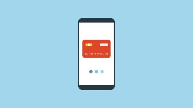 vidéos et rushes de transaction. traitement virtuel des cartes de crédit sur l'écran du smartphone. animation de dessins animés vidéo 4k - credit card