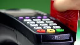 Transfer payment. Credit card payment terminal.