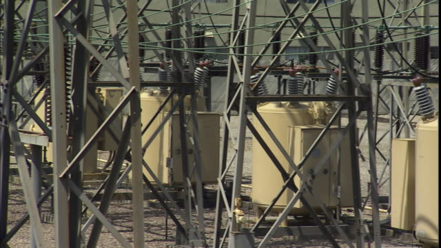 cu, pan, transformers and electrical generators at power station, california, usa - generator stock videos and b-roll footage