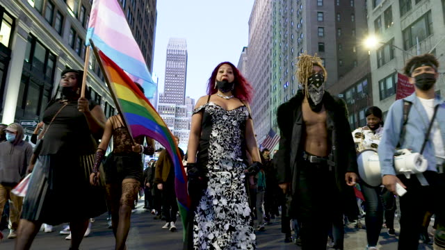 transgender activist rallied in midtown manhattan's times square to protest the shooting and wounding of roxanne moore on october 02, 2020.... - african ethnicity stock videos & royalty-free footage