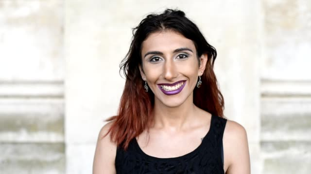 transgender female smiling portrait - ermafrodita video stock e b–roll