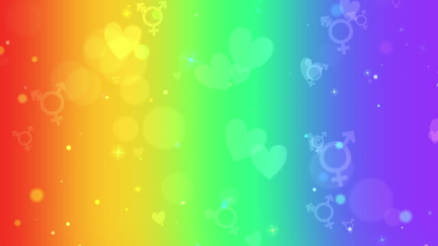 LGBTQ+ transgender symbols and hearts on rainbow colors looping background