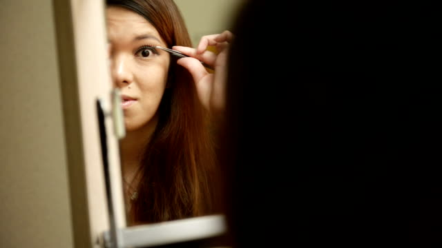 Transgender Women are makeup to her own face
