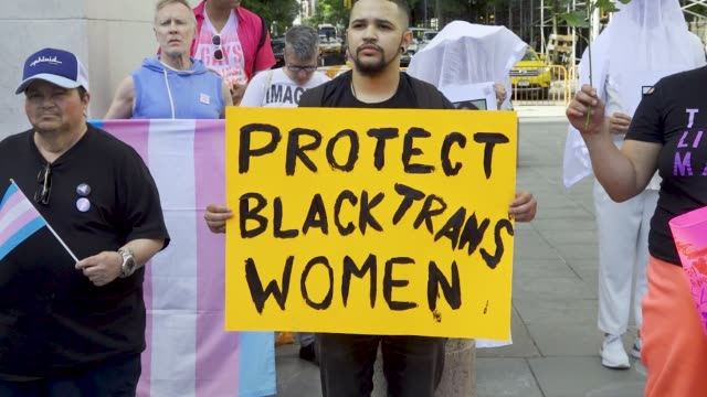 transgender women rallied in manhattan's washington square pa in protest of the five black transgender women have been victims of fatal violence in... - mixed gender stock videos & royalty-free footage