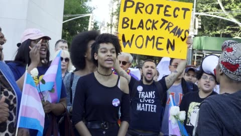 transgender women rallied in manhattan's washington square pa in protest of the five black transgender women have been victims of fatal violence in... - diritti lgbtqi video stock e b–roll
