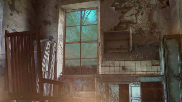 transition between night and day in deserted interior