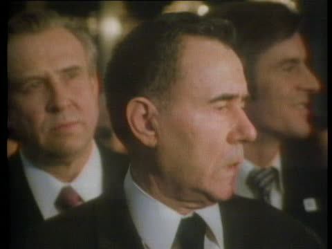 a translator at a press conference in geneva interprets a statement from soviet foreign minister andrei gromyko - (war or terrorism or election or government or illness or news event or speech or politics or politician or conflict or military or extreme weather or business or economy) and not usa stock-videos und b-roll-filmmaterial