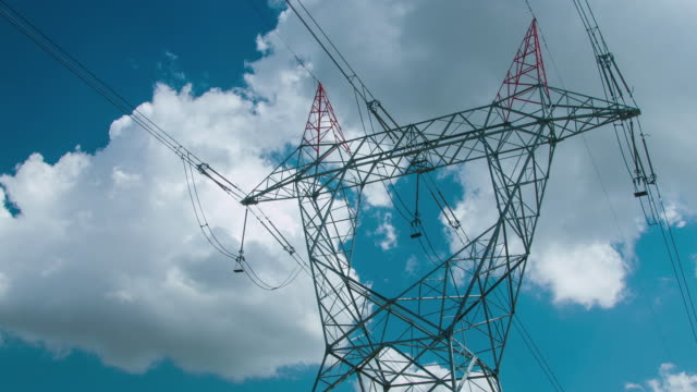 transmission towers and power lines - power supply stock videos & royalty-free footage