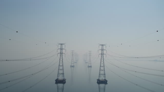 transmission towers on the sea of yeongheungdo island / ongjin-gun, incheon, south korea - construction frame stock videos & royalty-free footage