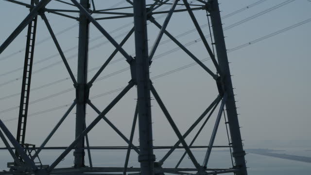 transmission towers on the sea of yeongheungdo island / ongjin-gun, incheon, south korea - linea telefonica video stock e b–roll