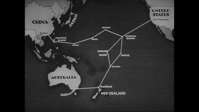 trans-pacific commercial airplane in flight. animated map: showing air routes planned to connect new zealand & hawaii. - pacific islands stock videos & royalty-free footage