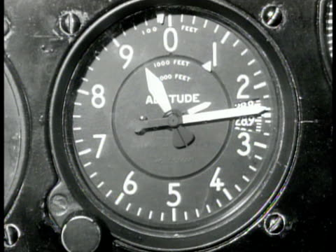 flying 'the hump' us transport airplane pilot fur lined flight jacket oxygen mask cu threepointer sensitive altimeter displaying altitude in feet... - cockpit stock videos & royalty-free footage