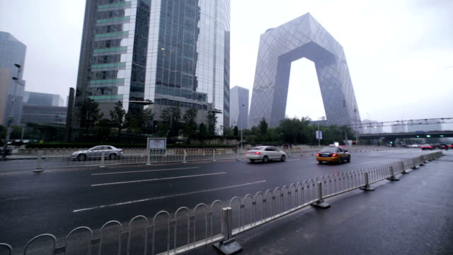 Beijing, China - October 7, 2016: Transport junction in the Chaoyang District, with the CCTV building in the background.
