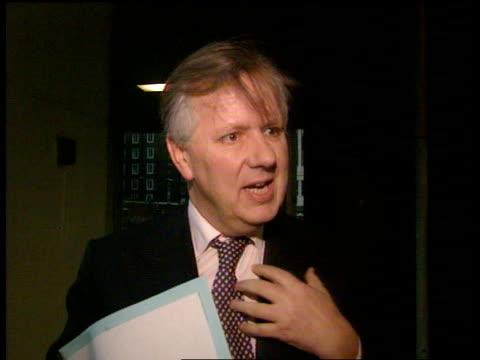 Transport Minister Steven Norris criticises public transport ENGLAND London EXT Steven Norris MP towards out of building Steven Norris MP interview...