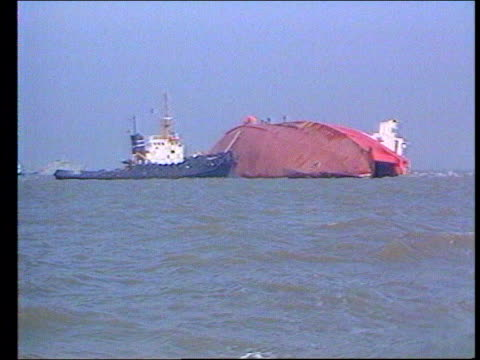 southall rail crash charges dropped lib belgium off zeebrugge ferry 'herald of free enterprise' laying on its side in the english channel ferry... - sink stock videos and b-roll footage