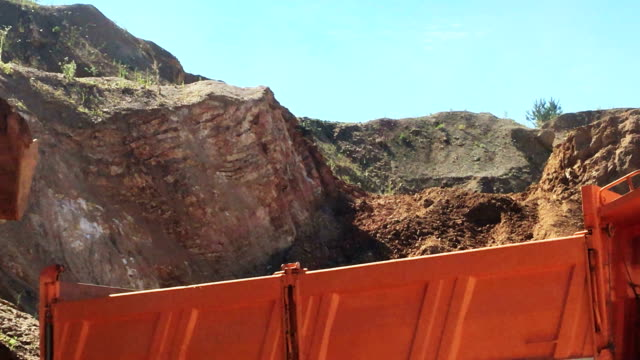 transport truck on a digging site - quarry stock videos & royalty-free footage