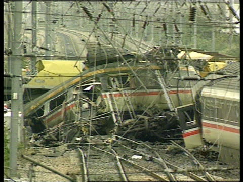 Southall Train Crash Great Western Trains Apologises LIB ENGLAND London Southall Crumpled train carriages in aftermath of Southall train crash which...